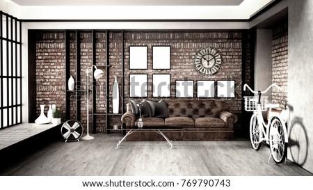 Modern loft style living interior design stockillustration