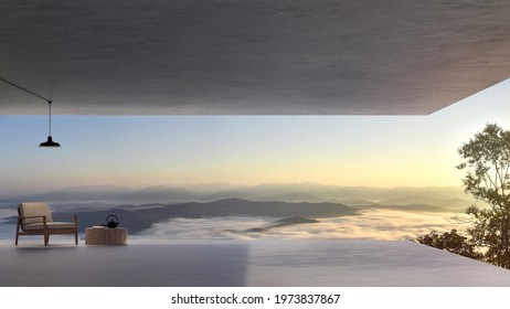 Modern loft  style terrace with sea of fog view 3d render.There has polished concrete floor decor wooden and fabric chair.Looking out to mountains view in the morning.
