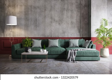 Modern loft and vintage interior of living room, green sofa and gold lamp on half concrete and red painted wall,3d rendering