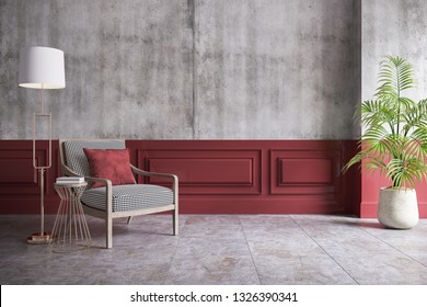Modern loft and vintage interior of living room, armchair and gold lamp on half concrete and red painted wall,3d rendering