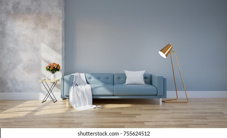 Modern loft and vintage interior of living room, Blue sofa with gold lamp on wood flooring and blue wall  ,3d rendering