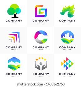 Modern logo design template set, Abstract logo set, colorful logo set, minimalist logo design template set of 9