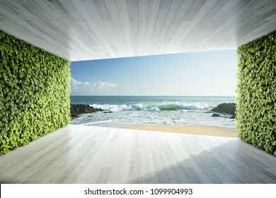 Modern lounge area with vertical gardens and view of sea. 3D illustration.