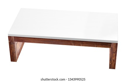 Modern low table isolated on white background. 3D rendering image.