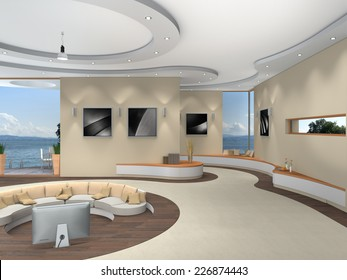 Modern Luxurious Futuristic 3D Interior Rendering With A Beautiful View To The Lake