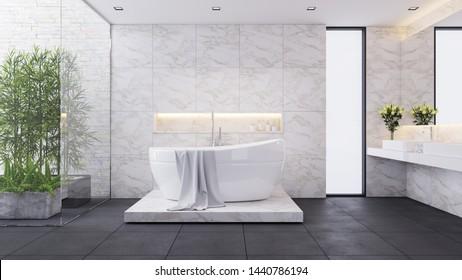 modern luxury bathroom design,white room,white bathtub on  marble wall ,3d render