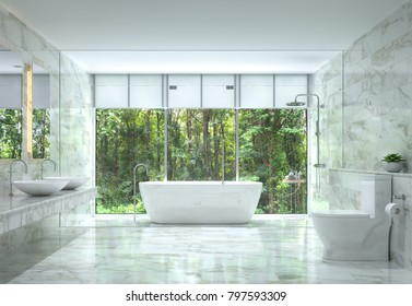 Modern luxury bathroom with nature view 3d rendering image. There are white marble tile wall and floor.The room has large windows. Looking out to see the nature.