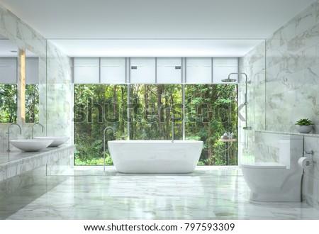 Modern Luxury Bathroom Nature View 3 D Stockillustration 797593309