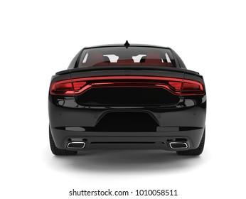 Modern luxury black city sports car - back view - 3D Illustration