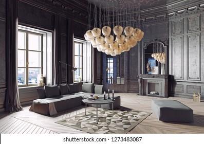 modern luxury black interior. 3d render design concept