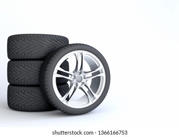 Modern Luxury Car wheel set,  Rim and tires isolated on white background with copy space. Concept image for promotion of changing or upgrading wheels. 3d illustration.