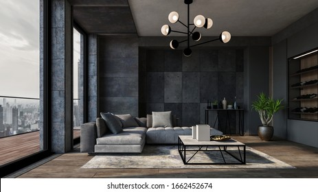 Modern luxury city apartment with textured grey walls, comfortable matching sofas and large view windows leading to balcony overlooking the CBD. 3d Rendering