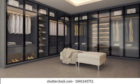 Modern luxury dressing room interior, gray and black wardrobe design ,walk - in closet ,3d rendering