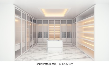 Modern luxury dressing room interior, walk -in closet white wardrobe on marble floor ,3d rendering