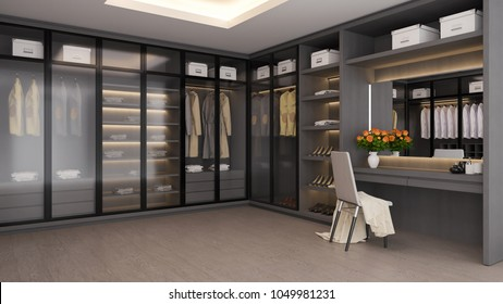 Modern luxury dressing room interior ,walk in closet , gray and black wardrobe design ,3d rendering