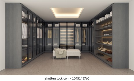 Modern luxury dressing room,walk - in closet interior, gray and black wardrobe design ,3d rendering