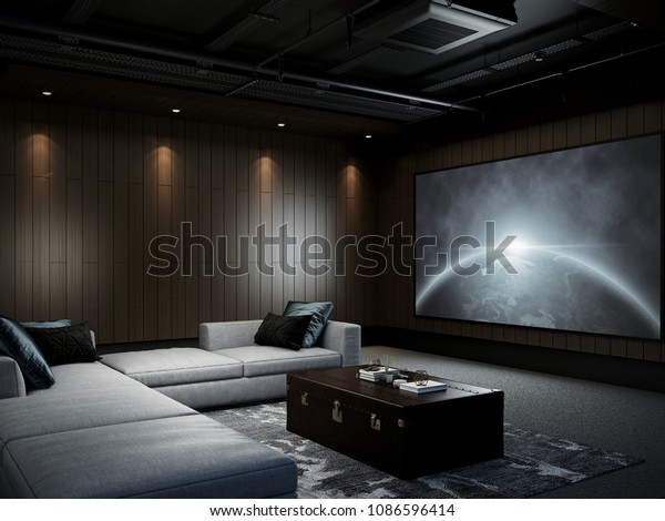 Modern Luxury Home Theater Room 3d Stock Illustration 1086596414