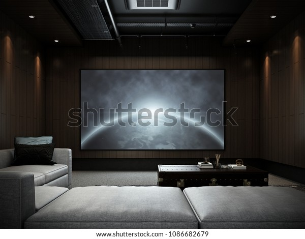 Modern Luxury Home Theater Room 2 Stock Illustration 1086682679
