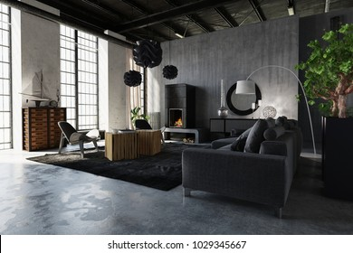 Modern luxury industrial loft conversion with comfortable grey sofas, exposed structural elements, concrete walls and large bright windows. 3d rendering