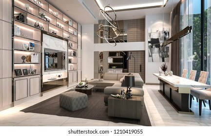Modern luxury interior living room studio mock-up, 3D rendering, 3D illustration