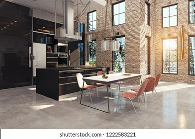 modern luxury kitchen interior. 3d design concept rendering