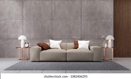 Modern luxury of  living room ,Penthouse interior design,brown sofa on polished concrete wall  ,3d rendering