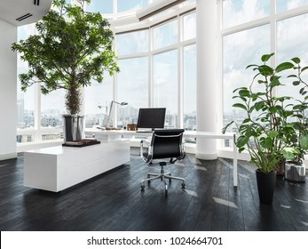 Modern luxury office interior in a pent house with curved white walls and windows overlooking a city and large green potted plants. 3d Rendering.