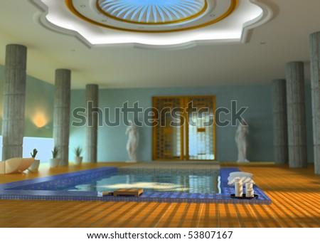 Modern Luxury Spa Interior Dof Effect Stock Illustration 53807167