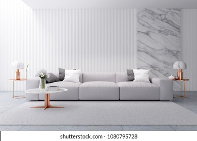 Modern luxury white  living room interior design, white sofa with marble wall and rose gold table,3d rendering