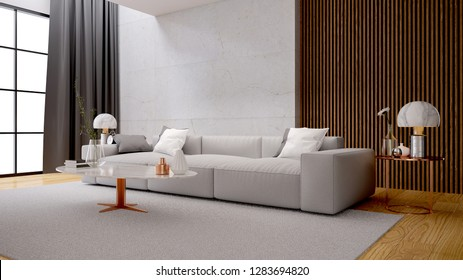 Modern luxury white  living room interior design, white sofa with marble wall ,3d rendering
