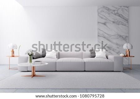 modern luxury white living room interior em ilustração stock