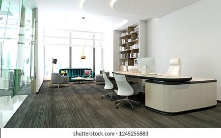 Modern luxury working space. Rendering 3D.