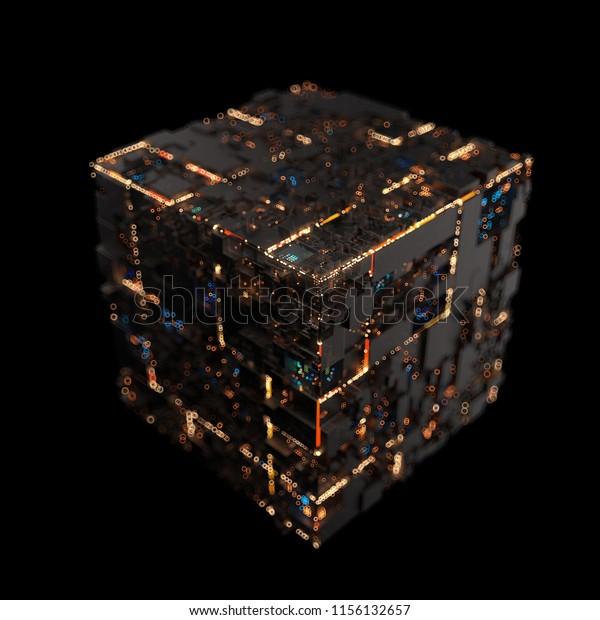 Modern machine design cube on the metal hand,the concept of core data blocks,3d rendering.The data is under control.