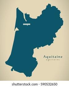 Modern Map - Aquitaine France FR illustration