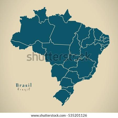 Modern Map Brasil Districts BR Brazil Stockillustration 535201126 ...