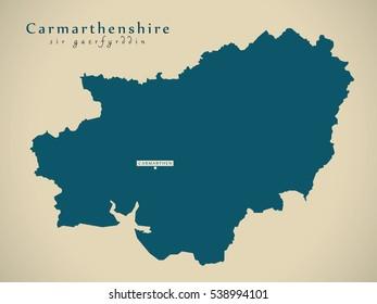 Modern Map - Carmarthenshire Wales UK illustration