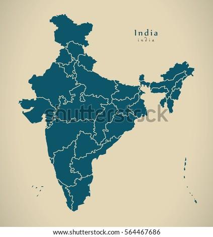 Modern Map India Federal States Illustration Stockillustration ...