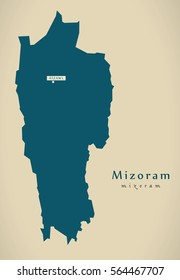 Modern Map - Mizoram IN India federal state illustration silhouette