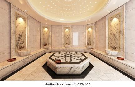 Modern marble Turkish bath 3D rendering by Sedat SEVEN