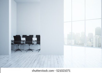 Modern meeting room interior with blank concrete wall and city view. Mock up, 3D Rendering