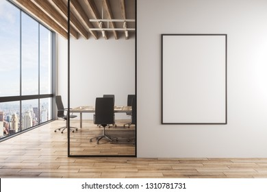 Modern meeting room interior with empty banner on concrete wall, furniture, wooden floor and panoramic city with sky view. 3D Rendering