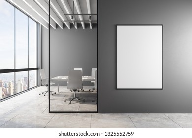 Modern meeting room interior with empty banner, city view and daylight. Mock up, 3D Rendering
