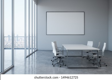 Modern meeting room interior with empty poster on concrete wall, equipment and city view. Mock up, 3D Rendering