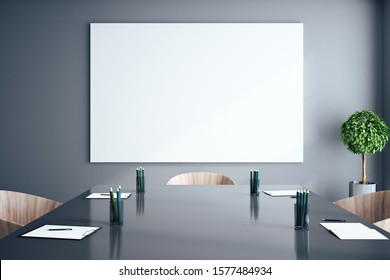 Modern meeting room interior with empty billboard. Presentation and corporate concept. Mock up, 3D Rendering