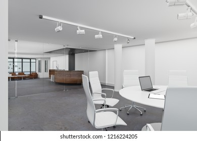 Modern meeting room interior with furniture and empty laptop. Mock up, 3D Rendering