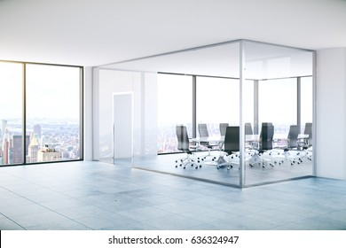 Modern meeting room with panoramic city view. 3D Rendering