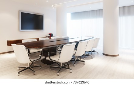 Modern Meeting Room with meeting table and furniture 3D illustration