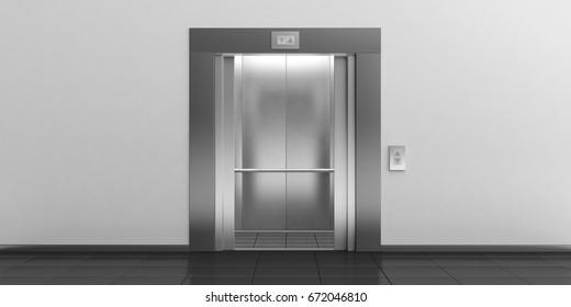 Modern metal elevator with open doors, hall interior. 3d illustration