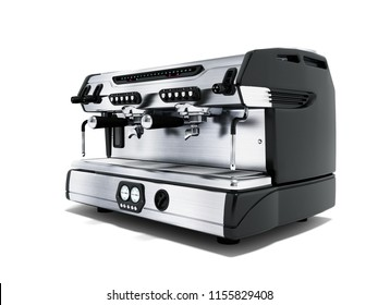 Modern metal professional coffee machine for two cups in the coffee shop front view 3d rendering on white background with shadow