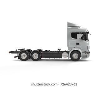 Modern metallic flatbed truck - 3D Illustration